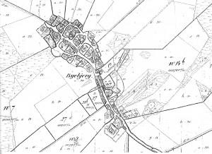 Bybjerg ca 1800 før udflytningen af gårdene