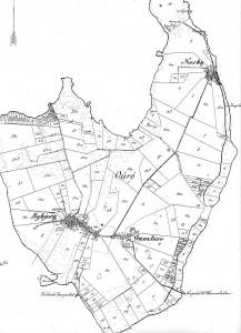 Ourø ca 1880, matrikelkort med byer og husmandslodder