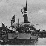 Orø Havn med færgen Ourø ved kaj omkring 1911