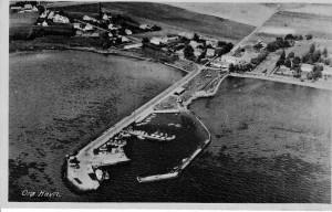 Orø Havn, postkort - luftfoto ca 1950
