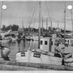 Orø havn med fiskerbåde, 1955, postkort