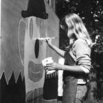 Orø Skole, klovnen males af Lena, ca 1985