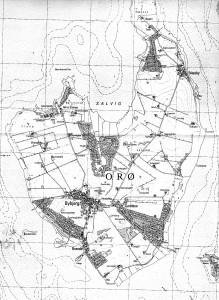 Orø ca 1990 med sommerhusområder og bebyggelsen ved Brønde
