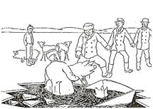 Orøboerne slagter gris på fjordisen