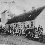 Skoleudstilling - Ourø Kirke og Skole ca 1910